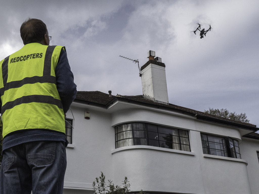 Our drone flies over a domestic property in London for a roof and chimney surevy